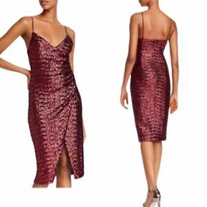 Black Halo Bowery Sequin Sheath Dress Size 2 Pinot Noir Red Sleeveless $375 NWT