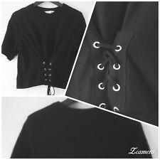 Blue Inc 90s Inspired Black Lace Up Short Sleeve Celebrity Style Waist Top UK 12
