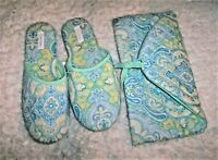 Dearfoams Paisley Quilted Cotton Slippers XL~Matching Clutch/Storage Bag~