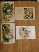 Antique Easter Postcards Rabbits Lot of 4 chicks bunnies children rooster