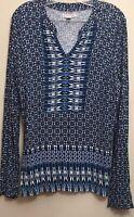 db established 1962  Women's Blue/Multi Long  Sleeve Top Blouse Size  Large
