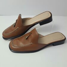 9b72e8fda04 Women s RALPH LAUREN POLO Brown Leather Mules Loafers Slip-On Shoes Sz 5 1