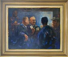 KARLIS MEDNIS (1910-1999) 'CARD PLAYERS' ORIGINAL PAINTING, BEAUTIFULLY FRAMED