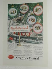1950 NEW YORK CENTRAL RR advertisement, with Lionel E7 toy train, Christmas tree