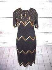Laurence KAZAR Black & Gold Beaded Dress-UK taille M (12)