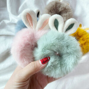 Women Girls Artificial Rabbit Fur Elastic Plush Hair Ties Band Ropes Scrunchies