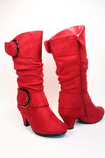 Youth Girl's Cute Faux Suede Low Heel Caual Zipper Buckle Boot Shoes Size 9 - 4