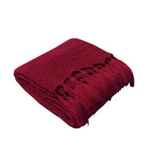 Plain Tassel Knitted Thread Blanket Warm Sofa Bed Nap Throw Blankets 130*160cm