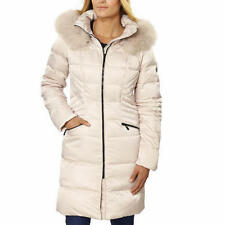 1 Madison Womens Luxe Down Walker Coat JACKET Faux Fur BONE, XL