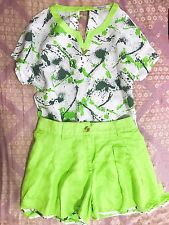 Korean Women's Fashion Floral Print Blouse T Shirt Top + Shorts Set Green1