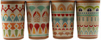 Moroccan Design 4 Piece Melamine Plastic Tumbler / Cups  - Looks Like Terracotta