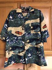 Hawaiian Shirt By Basix Beautiful Colors Cars & Beach Scene Size L EUC