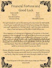 Book of Shadows Spell Page, FINANCIAL FORTUNE & GOOD LUCK, Wicca, Witchcraft BOS