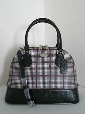 Nwt Coach Cora Domed Satchel Silver/Black In Glen Plaid Bag - F37056