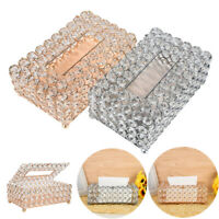 Handmade Round Crystal Tissue Box Tray 200pc Paper Towel Storage Gold, Silver US