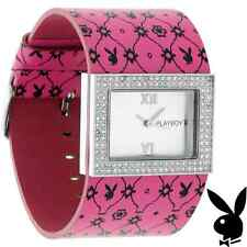 PROM GRADUATION GIFT Playboy Watch Bunny Pink Leather Swarovski Crystals RARE