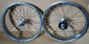 """Kids 16/"""" Front /& Rear Bicycle Wheelset FREEWHEEL INCLUDED RED BMX Alloy"""