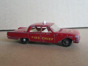 651Q 1964'S Matchbox No 59b England Ford Fairlane Fire Chief Car USA 1:64