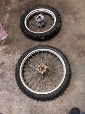 Honda Cr 85 Pair Of Big Wheels 70/100-19 90/100-16 Tyres Hubs Wheels Spokes S2