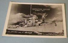 WWII Era USS Brennan DE-13 US Navy Destroyer Escort Real Photo RPPC Postcard
