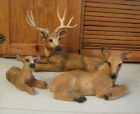 Homco Whitetail Deer Buck Doe Fawn Set Figurines Home Interiors Vintage 1984