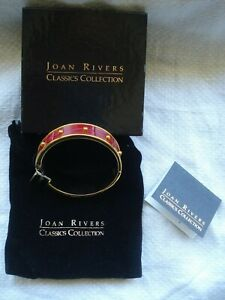 Joan Rivers Classic Collection Gold Plated / Red Leather Hinged Bangle ~New~