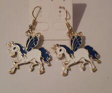 ENAMEL Blue & WHITE PEGASUS Unicorn GOLD  HOOK Earrings,
