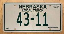 "NEBRASKA LOW NUMBER   LOCAL TRUCK LICENSE PLATE "" 43 11 "" NE"