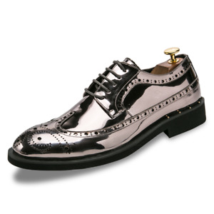 Mens Formal Shiny Leather Lace UP Wing Tip Brogue Carved Dress Shoes Oxfords New