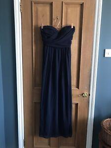 ASOS Elise Ryan Navy Blue Strapless Dress 12 Wedding Guest Bridesmaid Maxi Long
