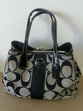 COACH 17424 Black Signature C Stripe Carryall Kiss Lock Purse 3 Compartments! XL