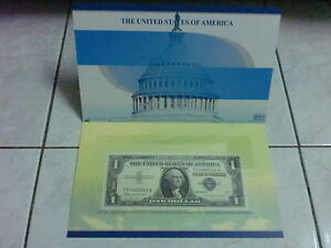 USA $1 Dollar 1957 B series silver certificate with folder (UNC), U 70060295 A