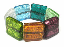 AQUA,OLIVE,PURPLE multi CHUNKY GLASS BEAD BRACELET #02