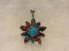 Crystal multi colored flower Belly Navel Ring NEW