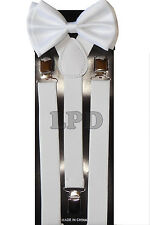 Pure WHITE Adjustable Bow Tie & White Suspenders Set Classic Style White Bow Tie