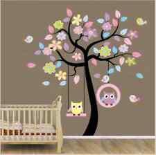 Owl Birds Swing on Colourful Tree Wall Sticker