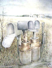 Milk Cans by Roy Mills; Rare Signed Country Print