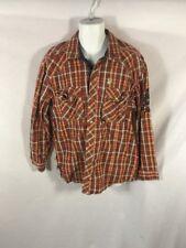 Men's AKADEMIKS Red&Orange Western Plaid Button Down Casual Shirt Sz LARGE