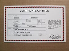 Danbury Mint Paperwork 1925 Ford Model T Roadster