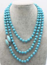 "howlite blue turquoise round 8mm zircon egg 55""  wholesale beads necklace long"