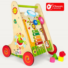 WOODEN Multi Activity LEARNING WALKER Baby Music Puzzles Clock Sorting ECO Wood