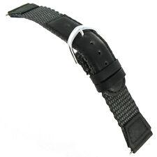 19mm Speidel Express Swiss Army Style Black Grey Nylon Leather Watch Band Short