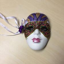 Mardi Gras Ceramic Wall Mask Purple