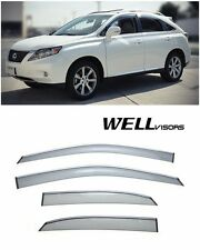 WellVisors Side Window Visors Guard W/ Chrome Trim For 10-15 Lexus RX350 RX450H
