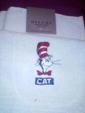 "LOVELY EMBROIDERED  TOWEL SET ""CAT IN THE HAT "" QUEEN/MADONNA/GIFT/BIRTHDAY"