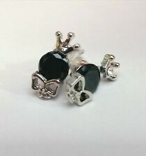 SMALL SKULL WITH CROWN CUBIC ZIRCONIA & BLACK GEM STUD EARRINGS GIFT BOX GOTH