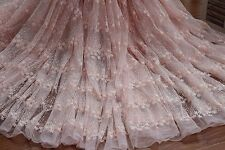 "47.24""*1Y  Pink Floral Lace Fabric Cotton Embroidery Tulle Dress Lace Fabric"