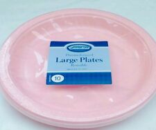 10 X pink  plastic plate - 23cm reuseble   for party and all occasions