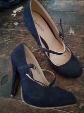 Ladies Smart Navy Suede Look High Heels Size 3 Barratts