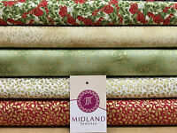"White Merry Christmas themed 100% Cotton Patchwork & Crafting Fabric 45"" Mtex"